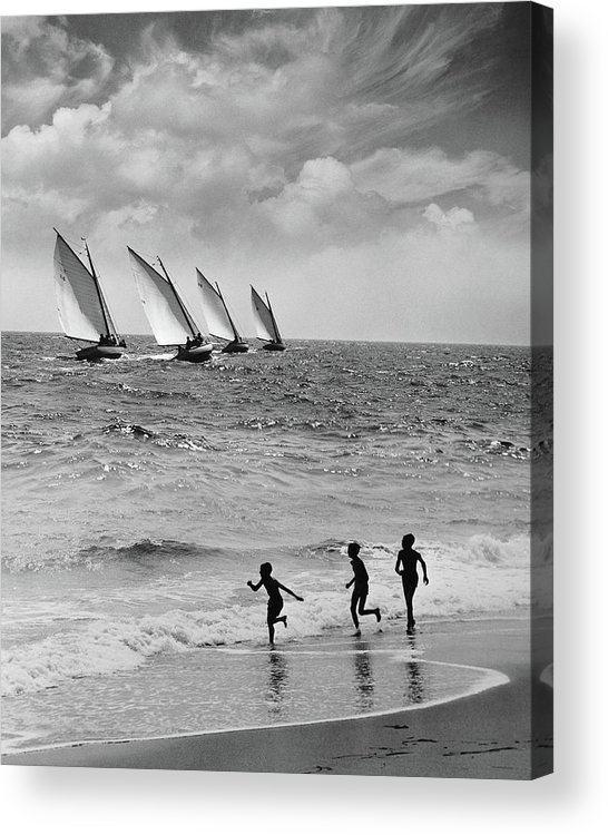 Following Acrylic Print featuring the photograph Three Boys Running Along Beach by Stockbyte