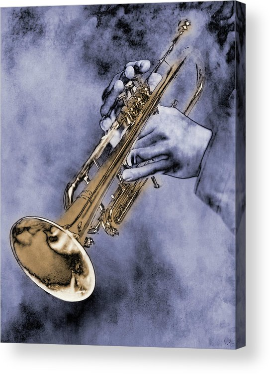 One Man Only Acrylic Print featuring the digital art Trumpet Player by Nick White