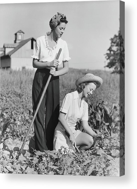 Straw Hat Acrylic Print featuring the photograph Two Women Working On Field, B&w by George Marks