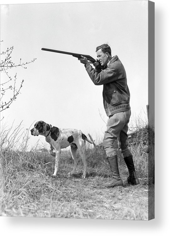 People Acrylic Print featuring the photograph Upland Bird Hunter With Pointer Dog by H. Armstrong Roberts