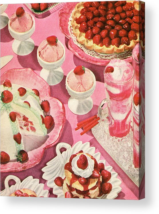 Milk Acrylic Print featuring the photograph Variety Of Strawberry Desserts by Graphicaartis