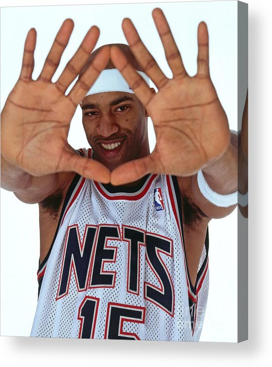 Nba Pro Basketball Acrylic Print featuring the photograph Vince Carter Studio Portrait by Nathaniel S. Butler