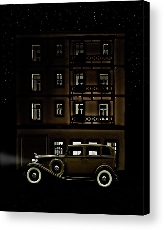 Apartment Acrylic Print featuring the photograph Vintage Car Outside Apartment Block At by Michael Duva