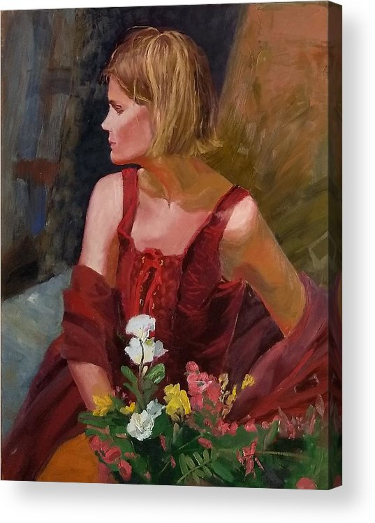 Girl Acrylic Print featuring the painting SOLD What About My Flowers by Irena Jablonski