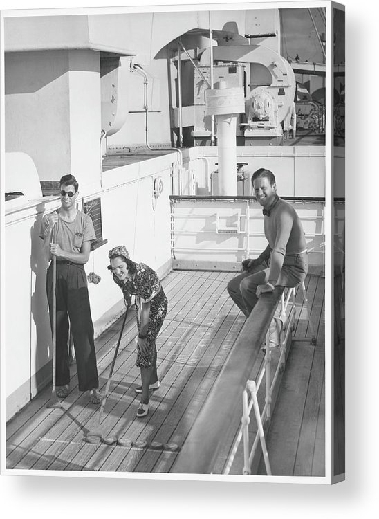 Young Men Acrylic Print featuring the photograph Woman And Two Men On Cruiser Deck, B&w by George Marks