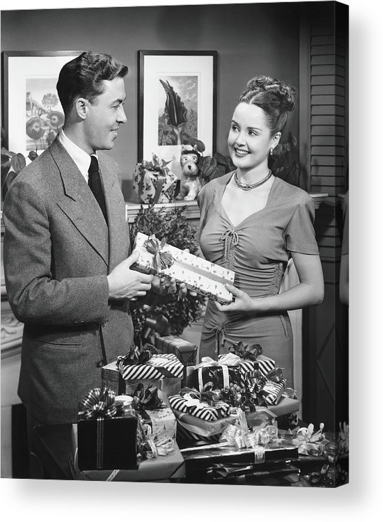 Heterosexual Couple Acrylic Print featuring the photograph Woman Giving Gift To Man, B&w by George Marks