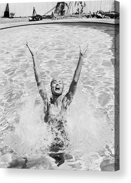 Human Arm Acrylic Print featuring the photograph Woman Having Fun In Swimming Pool by Tom Kelley Archive