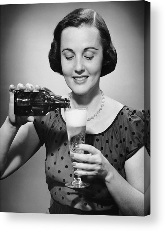 People Acrylic Print featuring the photograph Woman Pouring Alcoholic Beverage by George Marks