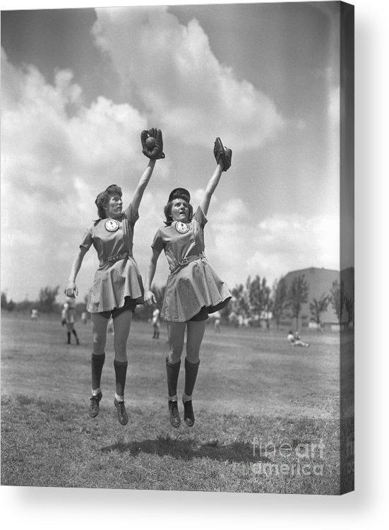 Mid Adult Women Acrylic Print featuring the photograph Womens Baseball League Twin Players by Bettmann