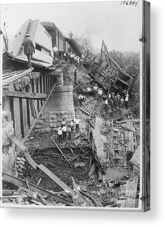 People Acrylic Print featuring the photograph Workers On Train Wreck Debris by Bettmann