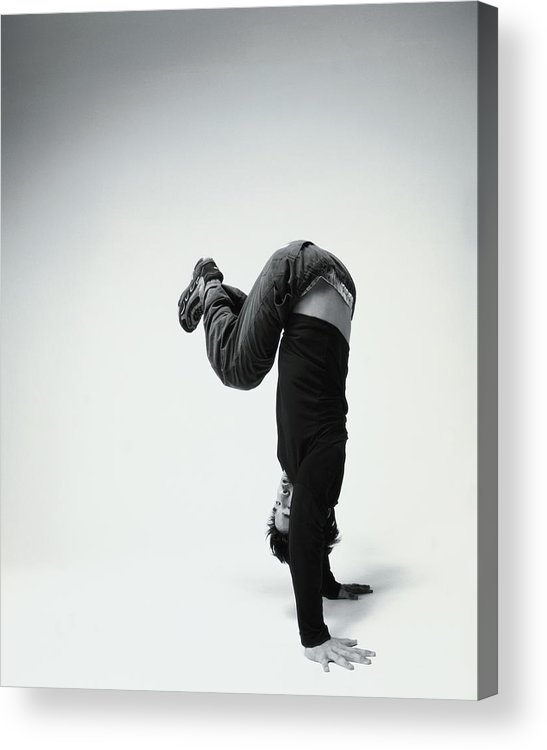 Youth Culture Acrylic Print featuring the photograph Young Man Breakdancing B&w by Karen Moskowitz