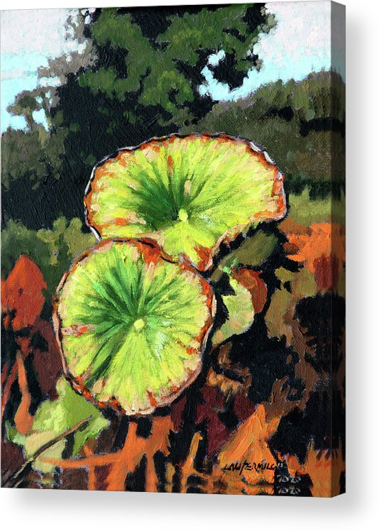 Lotus Leaves Acrylic Print featuring the painting Autumn Lotus Leaves by John Lautermilch