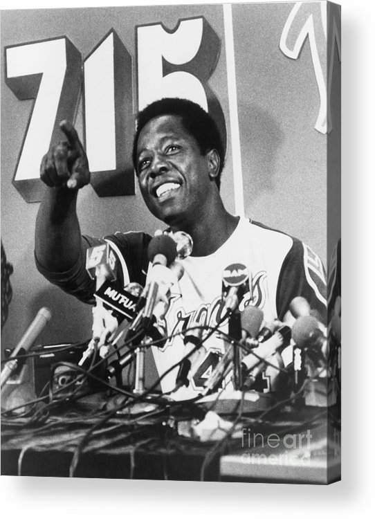 People Acrylic Print featuring the photograph Hank Aaron by Mlb Photos