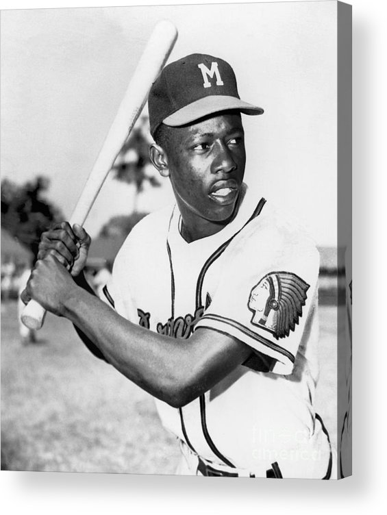 1950-1959 Acrylic Print featuring the photograph Hank Aaron by National Baseball Hall Of Fame Library