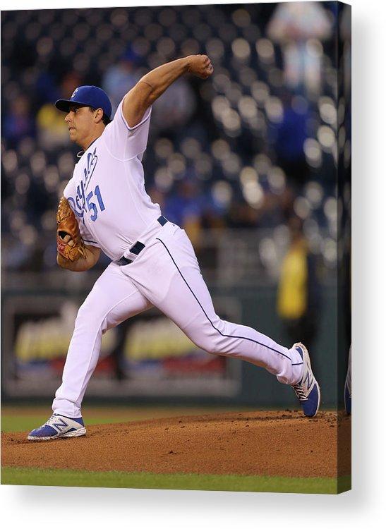 American League Baseball Acrylic Print featuring the photograph Jason Vargas by Ed Zurga