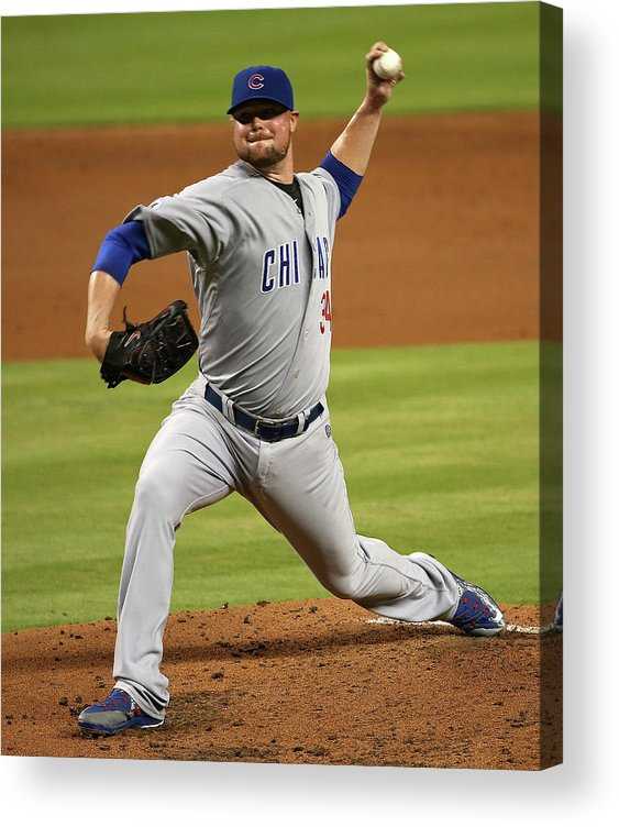 People Acrylic Print featuring the photograph Jon Lester by Mike Ehrmann