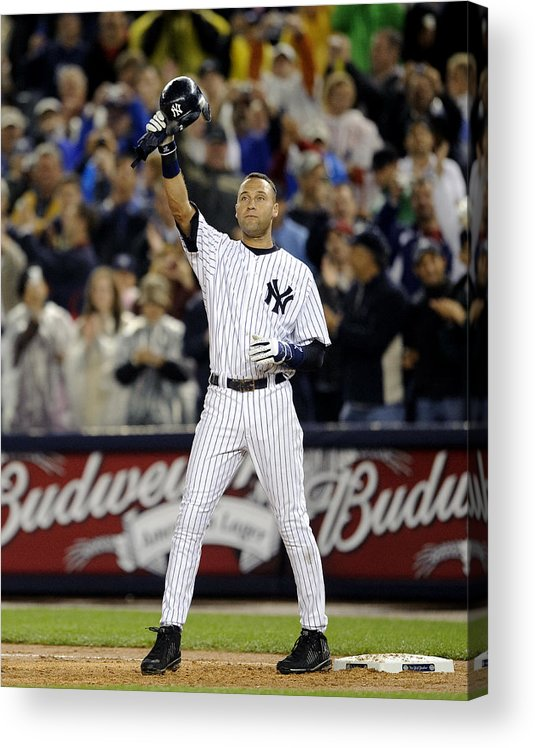 People Acrylic Print featuring the photograph Lou Gehrig and Derek Jeter by New York Daily News Archive