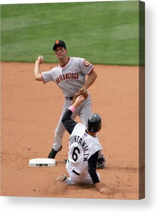 Kevin Frandsen Acrylic Print featuring the photograph San Francisco Giants v Colorado Rockies by Doug Pensinger