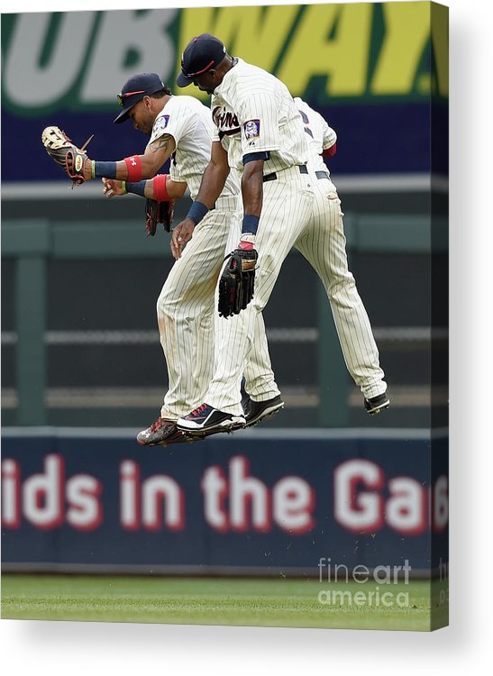 People Acrylic Print featuring the photograph Torii Hunter, Aaron Hicks, and Eddie Rosario by Hannah Foslien