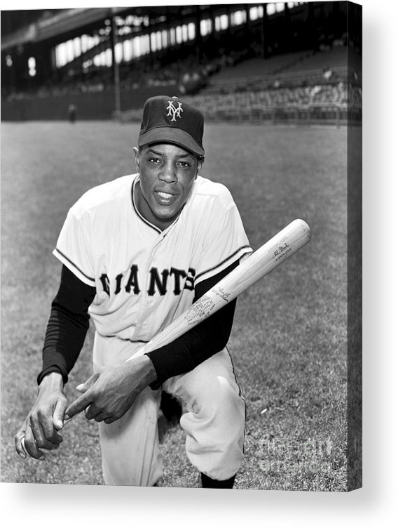 People Acrylic Print featuring the photograph Willie Mays by Kidwiler Collection