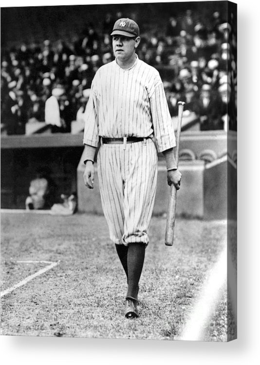 Home Base Acrylic Print featuring the photograph Babe Ruth by National Baseball Hall Of Fame Library