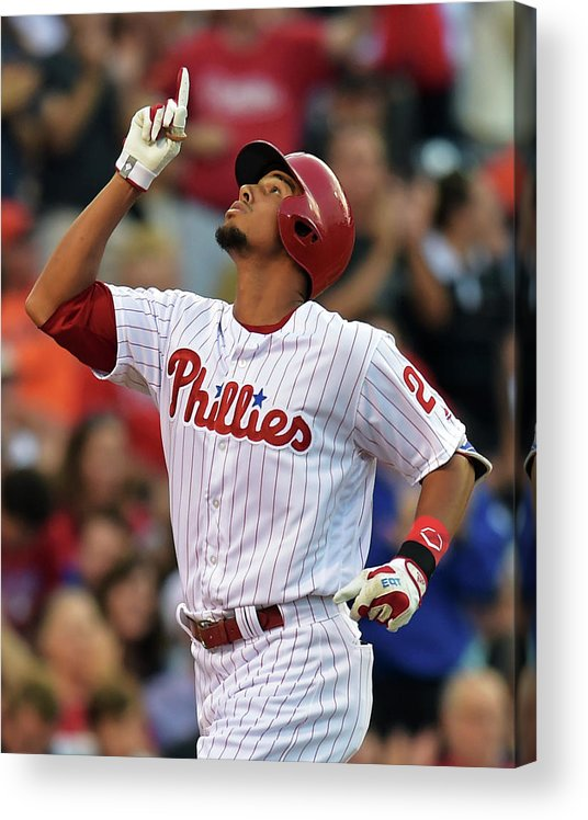 American League Baseball Acrylic Print featuring the photograph Aaron Altherr by Drew Hallowell