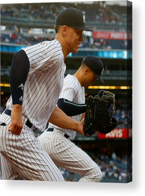 Three Quarter Length Acrylic Print featuring the photograph Aaron Judge and Giancarlo Stanton by Jim McIsaac