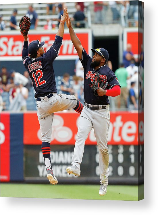 People Acrylic Print featuring the photograph Abraham Almonte and Francisco Lindor by Jim Mcisaac