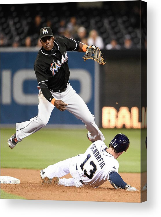 Double Play Acrylic Print featuring the photograph Adeiny Hechavarria And Chris Denorfia by Denis Poroy