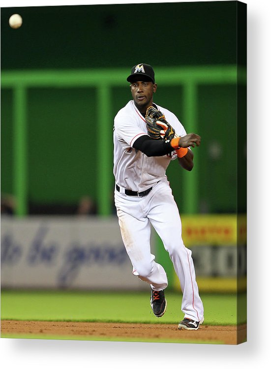 American League Baseball Acrylic Print featuring the photograph Adeiny Hechavarria by Mike Ehrmann