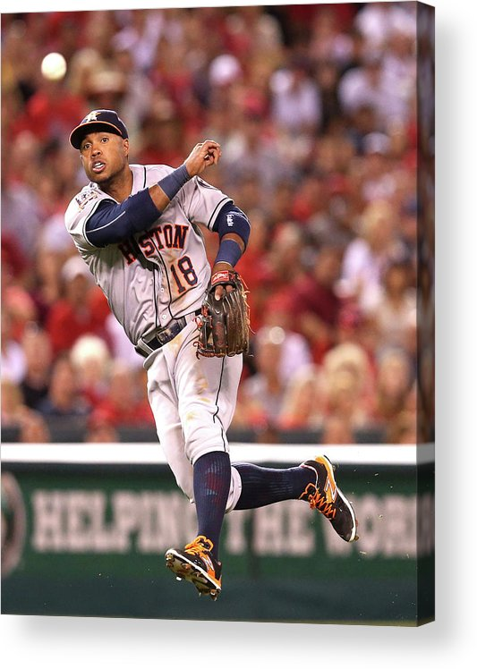 People Acrylic Print featuring the photograph Albert Pujols and Luis Valbuena by Stephen Dunn