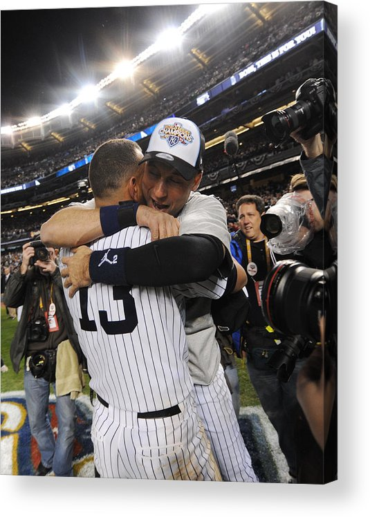 American League Baseball Acrylic Print featuring the photograph Alex Rodriguez and Derek Jeter by New York Daily News Archive