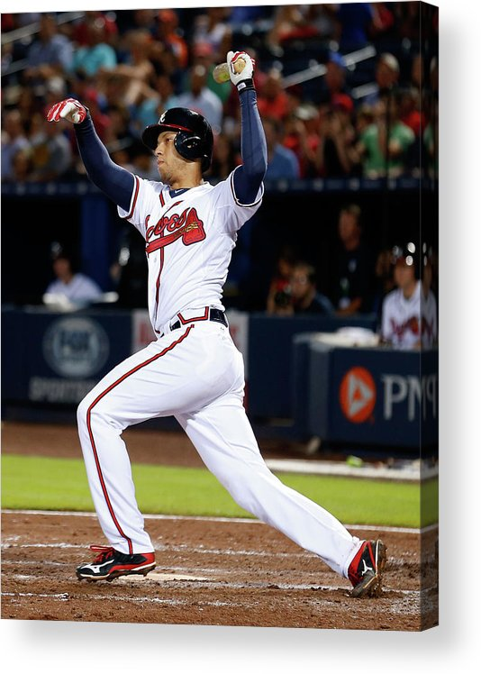 Atlanta Acrylic Print featuring the photograph Andrelton Simmons by Mike Zarrilli