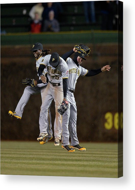 Celebration Acrylic Print featuring the photograph Andrew Mccutchen, Starling Marte, and Travis Snider by Brian Kersey