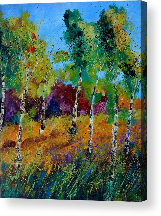 Landscape Acrylic Print featuring the painting Aspen trees in autumn by Pol Ledent