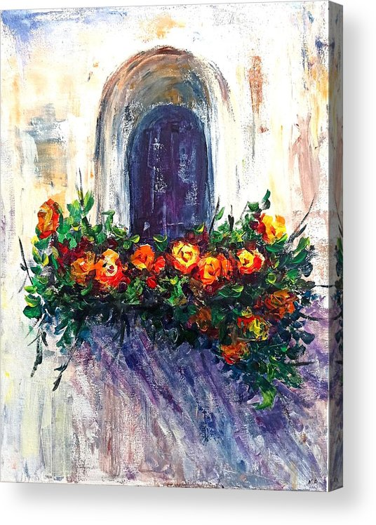 Roses Acrylic Print featuring the painting Balcony roses by Natalja Picugina