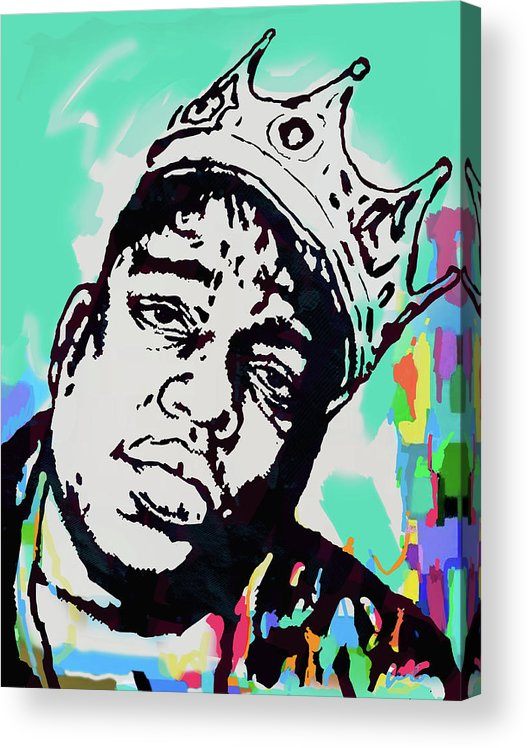 Biggie Smalls Colour Drawing Art Poster - Pop Art Acrylic Print featuring the mixed media Biggie Smalls - pop art poster 1 by Kim Wang