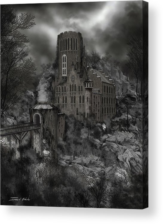 Castle Acrylic Print featuring the painting Casa Los Diavla by James Christopher Hill