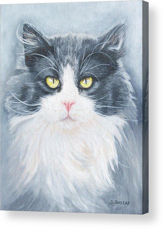 Pet Portrait Artist Acrylic Print featuring the painting Cat Print Pet Portrait Artist For Hire Commission by Diane Jorstad