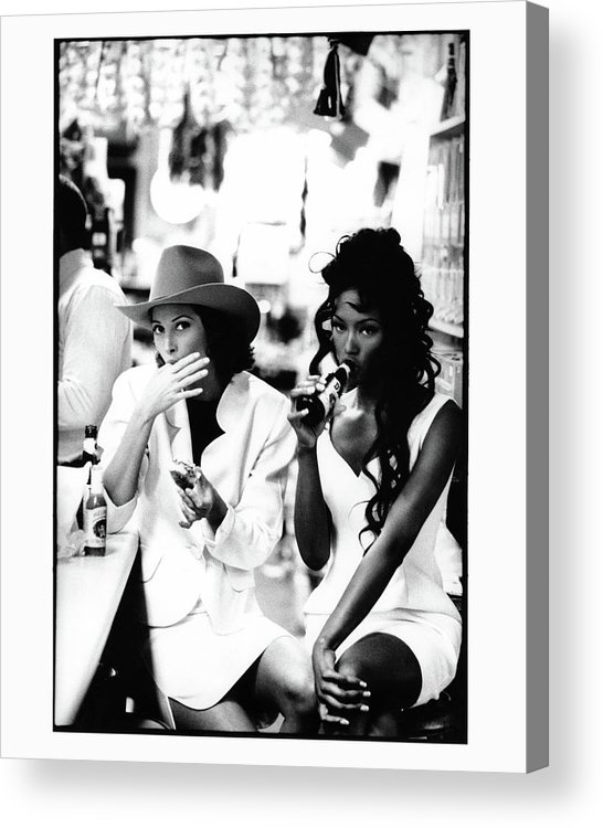 Accessories Acrylic Print featuring the photograph Christy Turlington and Naomi Campbell at the Central Grocery, New Orleans by Arthur Elgort