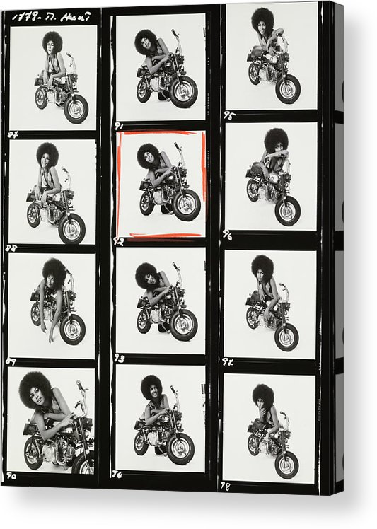 Model Acrylic Print featuring the photograph Contact Sheet of Marsha Hunt with a Motorbike by Patrick Lichfield