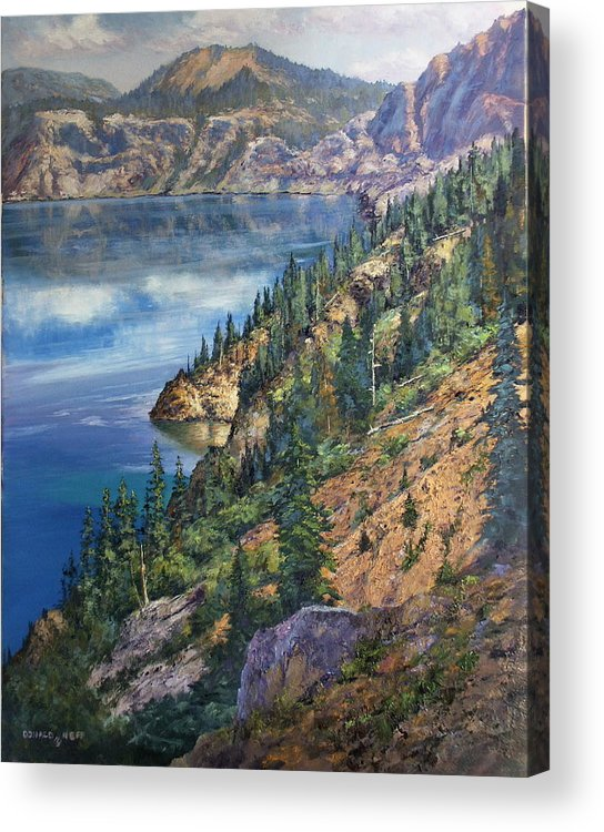 Crater Lake Oregon Acrylic Print featuring the painting Crater Lake Overlook by Donald Neff