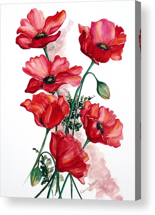 Original Watercolor Of English Field Poppies Painted On Arches Watercolor Paper Acrylic Print featuring the painting English Field Poppies. by Karin Dawn Kelshall- Best