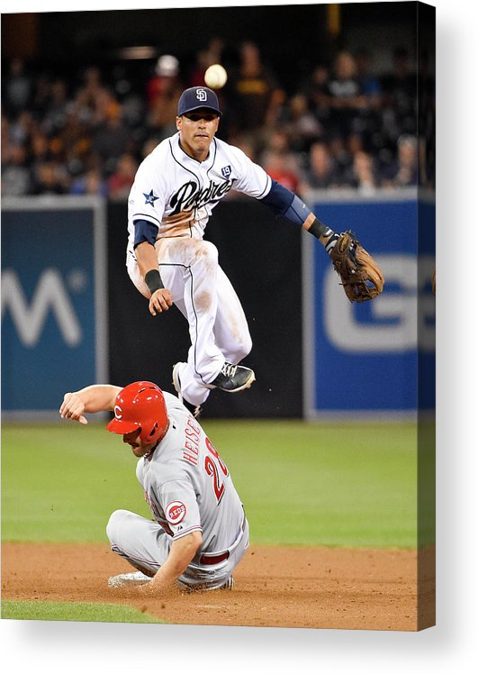 Double Play Acrylic Print featuring the photograph Everth Cabrera and Chris Heisey by Denis Poroy