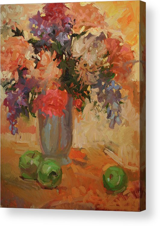 Still Life Acrylic Print featuring the painting Green Apples by Betty Jean Billups