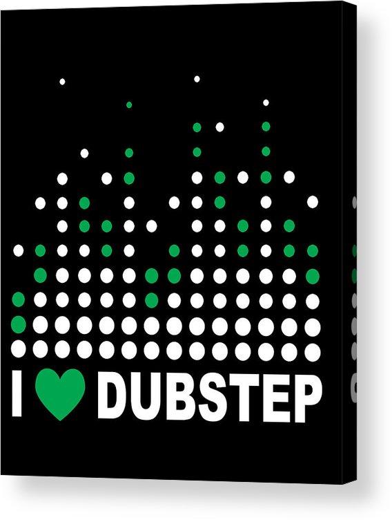 Electronic Dance Music Acrylic Print featuring the digital art I Heart Dubstep by Jacob Zelazny