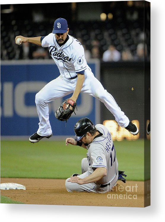 Double Play Acrylic Print featuring the photograph Jason Bartlett and Todd Helton by Denis Poroy