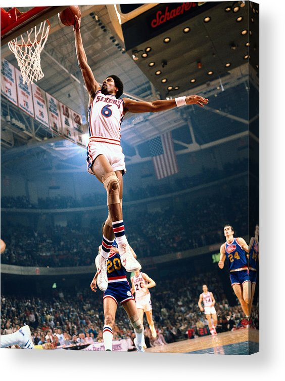 Nba Pro Basketball Acrylic Print featuring the photograph Julius Erving by Neil Leifer