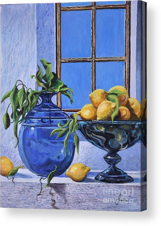 Original Painting Acrylic Print featuring the painting Lemons by Sinisa Saratlic