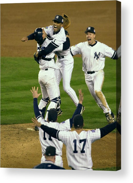 Baseball Catcher Acrylic Print featuring the photograph Mariano Rivera, Scott Brosius, and Jorge Posada by New York Daily News Archive